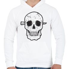 PRINTFASHION Koponya - Férfi kapucnis pulóver - Fehér
