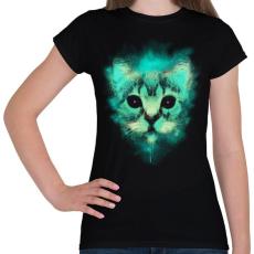 PRINTFASHION Kozmosz macska - Női póló - Fekete