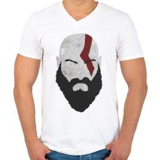 PRINTFASHION Kratos - Férfi V-nyakú póló - Fehér