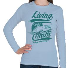 PRINTFASHION Lakókocsi - Női hosszú ujjú póló - Világoskék