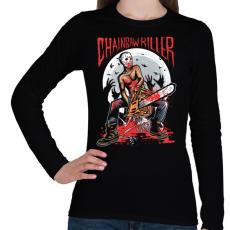 PRINTFASHION Láncfűrészes gyilkos - Női hosszú ujjú póló - Fekete