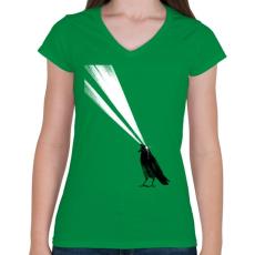 PRINTFASHION Laser crow - Női V-nyakú póló - Zöld