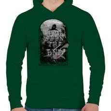 PRINTFASHION Látod a végét - Férfi kapucnis pulóver - Sötétzöld