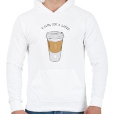 PRINTFASHION Latte - Férfi kapucnis pulóver - Fehér