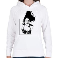 PRINTFASHION Lebegés - Női kapucnis pulóver - Fehér