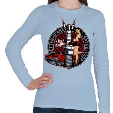 PRINTFASHION Legjobb szikra - Női hosszú ujjú póló - Világoskék