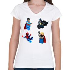 PRINTFASHION LEGO - Női V-nyakú póló - Fehér