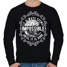 PRINTFASHION Lehetetlen - fehér szöveg - Férfi pulóver - Fekete
