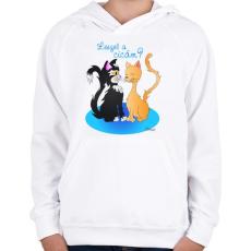 PRINTFASHION Leszel a cicám? - Gyerek kapucnis pulóver - Fehér