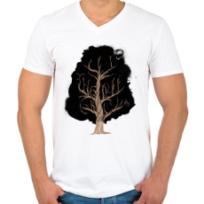 PRINTFASHION Let the tree grow - Férfi V-nyakú póló - Fehér