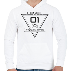 PRINTFASHION level-complete-01-gray - Férfi kapucnis pulóver - Fehér