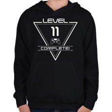 PRINTFASHION level-complete-11-white - Gyerek kapucnis pulóver - Fekete