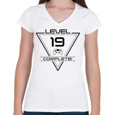 PRINTFASHION level-complete-19-black - Női V-nyakú póló - Fehér
