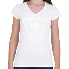PRINTFASHION level-complete-19-white - Női V-nyakú póló - Fehér