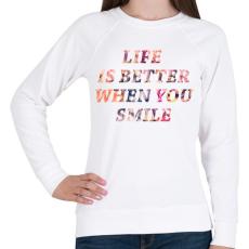 PRINTFASHION LIFE IS BETTER.png - Női pulóver - Fehér