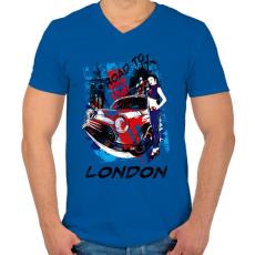 PRINTFASHION London utjain - Férfi V-nyakú póló - Királykék