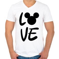 PRINTFASHION Love Mickey - Férfi V-nyakú póló - Fehér