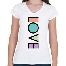 PRINTFASHION LOVE - Női V-nyakú póló - Fehér