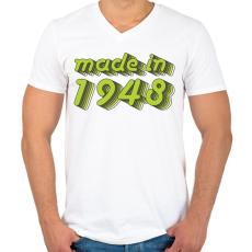 PRINTFASHION made-in-1948-green-grey - Férfi V-nyakú póló - Fehér