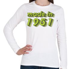 PRINTFASHION made-in-1951-green-grey - Női hosszú ujjú póló - Fehér