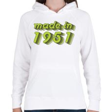 PRINTFASHION made-in-1951-green-grey - Női kapucnis pulóver - Fehér