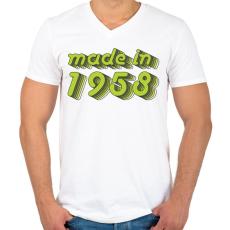 PRINTFASHION made-in-1958-green-grey - Férfi V-nyakú póló - Fehér