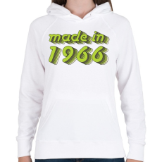 PRINTFASHION made-in-1966-green-grey - Női kapucnis pulóver - Fehér