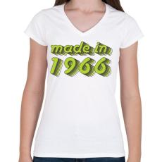 PRINTFASHION made-in-1966-green-grey - Női V-nyakú póló - Fehér