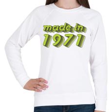 PRINTFASHION made-in-1971-green-grey - Női pulóver - Fehér