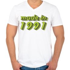 PRINTFASHION made-in-1991-green-grey - Férfi V-nyakú póló - Fehér