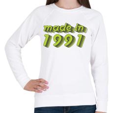 PRINTFASHION made-in-1991-green-grey - Női pulóver - Fehér