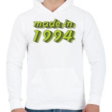 PRINTFASHION made-in-1994-green-grey - Férfi kapucnis pulóver - Fehér