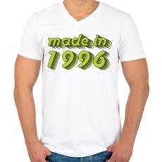 PRINTFASHION made-in-1996-green-grey - Férfi V-nyakú póló - Fehér