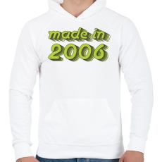 PRINTFASHION made-in-2006-green-grey - Férfi kapucnis pulóver - Fehér