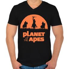 PRINTFASHION Majmok bolygója - Férfi V-nyakú póló - Fekete