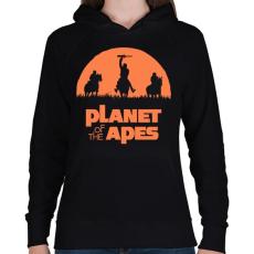 PRINTFASHION Majmok bolygója - Női kapucnis pulóver - Fekete