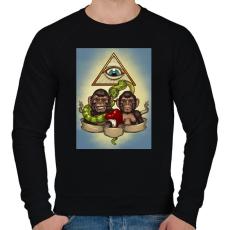 PRINTFASHION Majmok - Férfi pulóver - Fekete