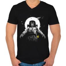 PRINTFASHION Majom az űrben - Férfi V-nyakú póló - Fekete
