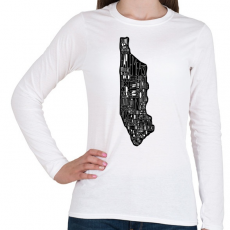 PRINTFASHION Manhattan - Női hosszú ujjú póló - Fehér