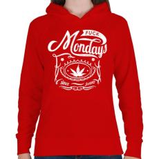 PRINTFASHION Már megint hétfő - Női kapucnis pulóver - Piros