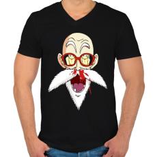 PRINTFASHION Master Roshi - Férfi V-nyakú póló - Fekete
