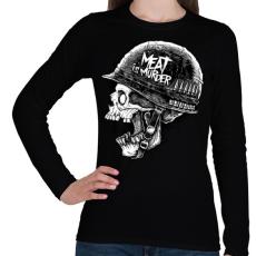 PRINTFASHION Meat is murder - Női hosszú ujjú póló - Fekete