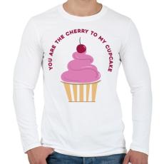PRINTFASHION Meggyes muffin - Férfi hosszú ujjú póló - Fehér