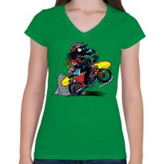 PRINTFASHION Menő farkas - Női V-nyakú póló - Zöld