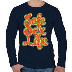 PRINTFASHION Mentsd meg a szexuális életed!  - Férfi hosszú ujjú póló - Sötétkék