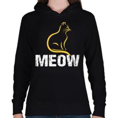 PRINTFASHION MEOW - Női kapucnis pulóver - Fekete