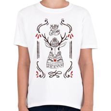 PRINTFASHION Merry Christmas Deer - Gyerek póló - Fehér