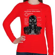PRINTFASHION Mesterséges intelligencia - Női hosszú ujjú póló - Piros