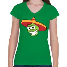 PRINTFASHION Mexico - Női V-nyakú póló - Zöld