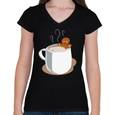 PRINTFASHION Mézi jakuzzi - Női V-nyakú póló - Fekete